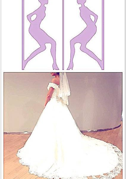 pink and purple logo and a woman in a dress