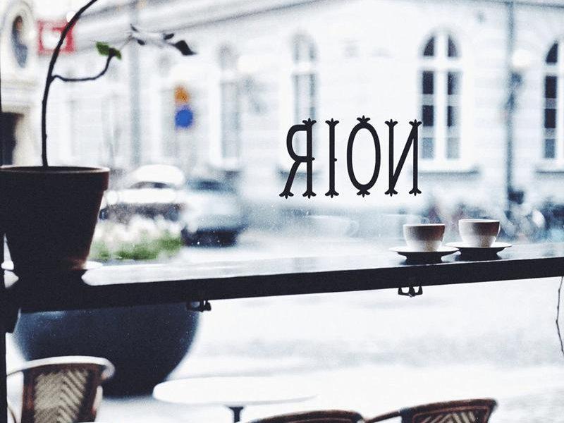 noir kaffekultur logo on window
